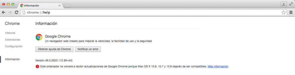 Version de Chrome mas moderna compatible con Lion